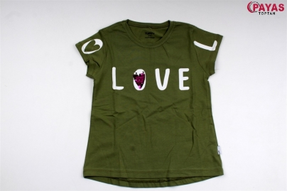 9/12 Y LOVE KALP PULLU BASKILI T-SHORT